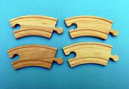 4er-Pack kurze Kurvenschienen 10 cm für Holzeisenbahnen