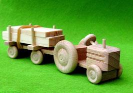 Erzgebirgisches Holzspielzeug Miniatur Traktor mit Anhänger Schnittholz
