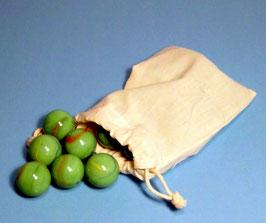 """24 große Glasmurmeln """"grün"""" Deko-Murmeln im Baumwollbeutel"""