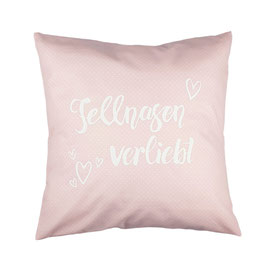 """Kissen """"Fellnasen verliebt"""" Rosa"""