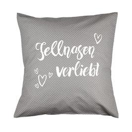 "Kissen ""Fellnasen verliebt"" Grau"