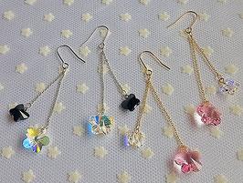 花と蝶のピアス