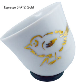 Espressotasse YOU handbemalt SPATZ/ EULE/ MEISE/ HIRSCH/ KATZE/ PINGU in Gold/ Platin