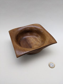 182.Beautiful, unusual turned hardwood bowl. Mahogany.