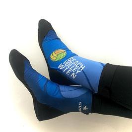 Beach Socks Blau mit schwarzer Sohle