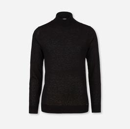 OLYMP Level Five Strick Body Fit, Pullover Rollkragen, Schurwolle 015112 68 Schwarz