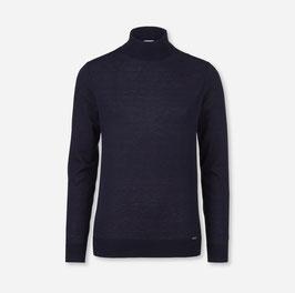 OLYMP Level Five Strick Body Fit, Pullover Rollkragen, Schurwolle 01511218 Marine