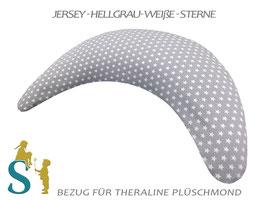 Bezug für Plüschmond~Jersey-Hellgrau-Weiße Sterne~