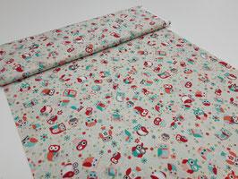 Stoff Eulen 112 cm breit Meterware Baumwolle