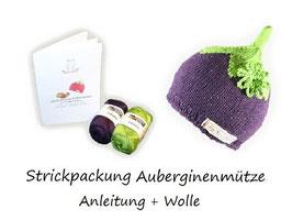 Strickpackung Auberginenmütze + Wolle