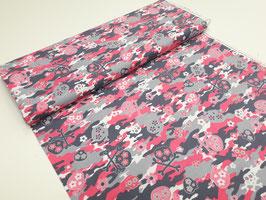 Stoff Kanvas Think Pink ~Grey/Pink~ 112 cm breit Meterware Baumwolle