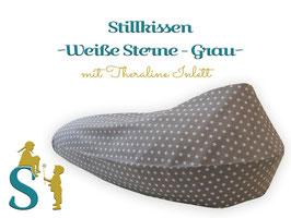 Stillkissen ~Weiße Sterne - Grau~ Theraline Inlett