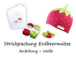 Strickpackung Erdbeermütze + Wolle