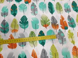 Stoff Federn ~Orange~ 160 cm breit Meterware Baumwolle