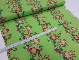 Stoff Kanvas Monkey 112 cm breit Meterware Baumwolle