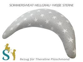 Bezug für Plüschmond ~Sommersweat - Hellgrau-weiße Sterne~