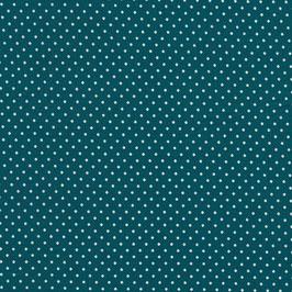 Baumwolle Webware, Tupfen, 2 mm, petrol