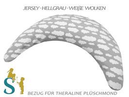 Bezug für Plüschmond~Jersey-Hellgrau-Weiße Wolken~
