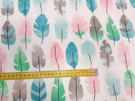 Stoff Federn ~Rosa~ 160 cm breit Meterware Baumwolle