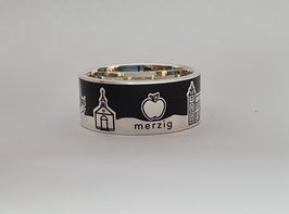 Stadtring Merzig Silber 925/- poliert / Hintergrund schwarz poliert