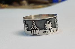 Stadtring Merzig Silber 925/- matt / Hintergrund vertieft