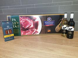 Paquete de Navidad La Rioja. Box Paleta Ibérica de Cebo de Campo, Pata Negra. 18+ maanden gerijpt, Chorizo Sarta Ibérico, Lobo Negro.
