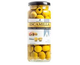 Aceitunas verdes deshuesada, sabor anchoa. Manzanilla. 335 gram.