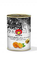 Aceitunas verdes con Naranja. 120 gram.