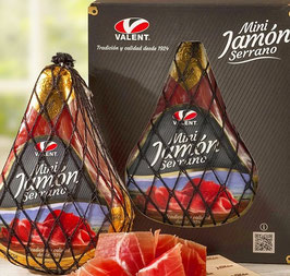 Box Mini Jamón Serrano met snijplankje en mes. 1 kilo.