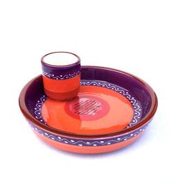 Handgemaakt Spaans Tapas schaaltje Paars/Oranje van Bowls and Dishes. Doorsnede 16 cm.