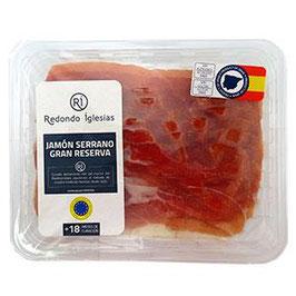 Jamón Serrano Gran Serserva, gesneden. Ca. 500 gram. 18+ maanden gerijpt. Redondo Iglesias.
