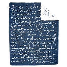 kuschelige Decke - blau/weiss