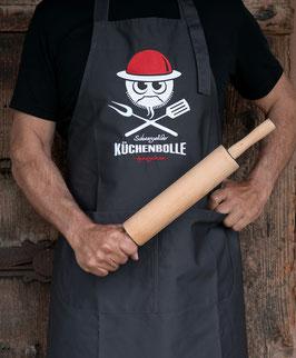 """NEU!!! »Küchenbolle« Kochschürze mit Stickmotiv """"Karle"""", anthrazit"""