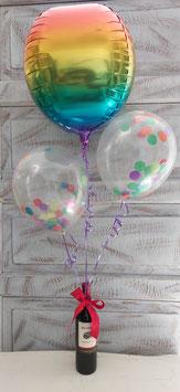 Vino tinto y bouquet de globos