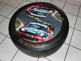 Beistelltisch aus Racing Slick/Rennreifen org. aus der DTM, GT Masters Porsche Cup..