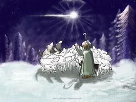 """Weihnachtskarte /Postkarte  """"Wie die Schafe ihre weiche Wolle bekamen"""" von Nic Koray"""