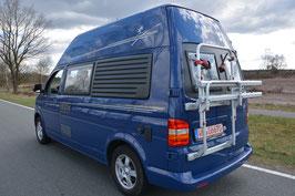 VW Bus T6 / T5 / T4 Fahrradträger Fiamma Alu für Hohe FLÜGELTÜREN Hochdach