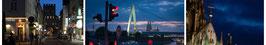 """Fotokomposition - """"Köln bei Nacht"""" 50x300 cm AluDibond Ultra-Gloss"""