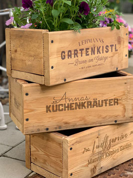 Pflanzkisten aus Altholz – individuell bedruckt