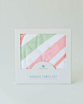 Hooded Towel & Washcloth Set - Cabana Stripe