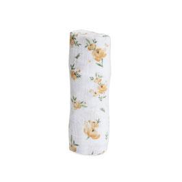Cotton Muslin Swaddle Single - Yellow Rose