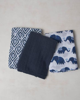 Cotton Muslin Swaddle Set 3 Pack - Indie Elephant