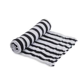 Cotton Muslin Swaddle Single - Ink Stripe