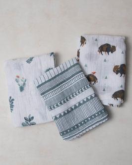 Cotton Muslin Swaddle Set 3 Pack - Bison