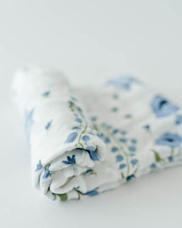 Deluxe (Bamboo) Muslin Swaddle Single- Blue Windflower
