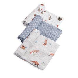 Cotton Muslin Swaddle Set 3 Pack - Fox