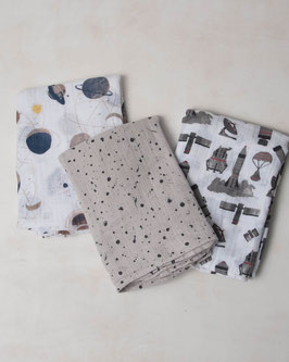 Cotton Muslin Swaddle Set 3 Pack - Ground Control