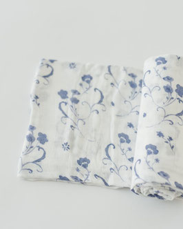 Deluxe (Bamboo) Muslin Swaddle Single- Blue Porcelain