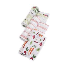 Cotton Muslin Swaddle Set 3 Pack - Farmer`s Market