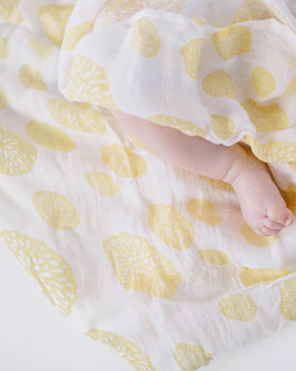 Deluxe (Bamboo) Muslin Swaddle Single- Yellow Burst